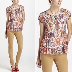 Anthro Weston Wear Sprouted Peplum Top